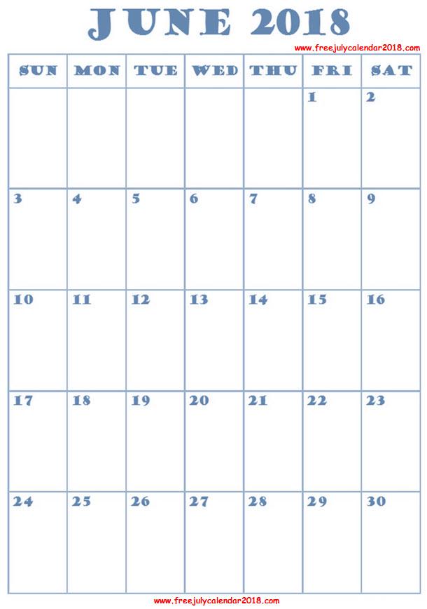 2018 June Calendar Excel