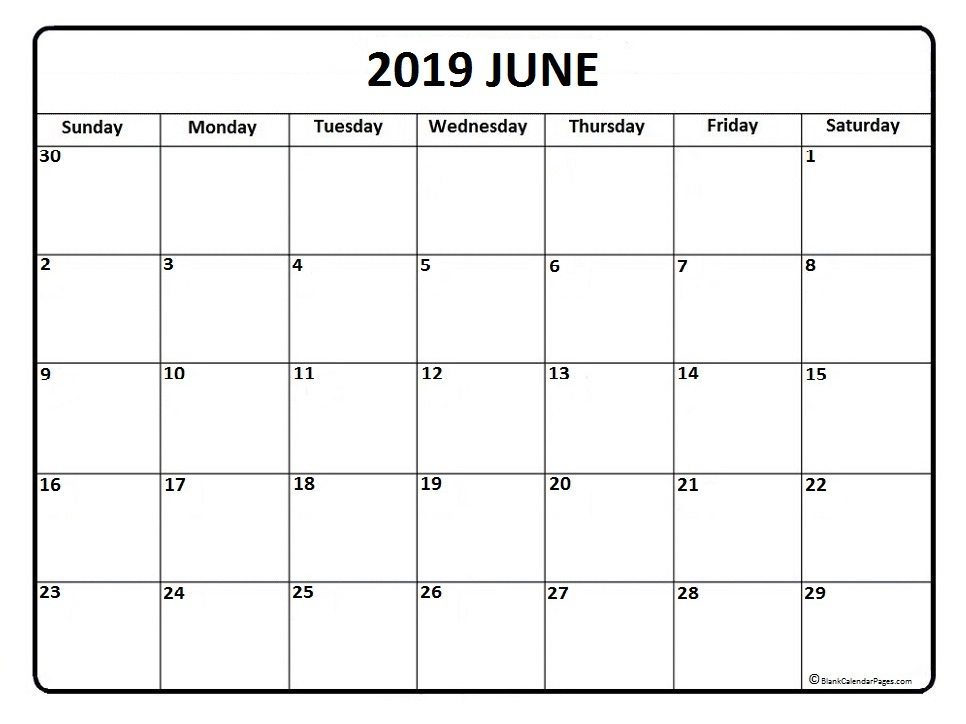 2019  Calendar June PDF Template