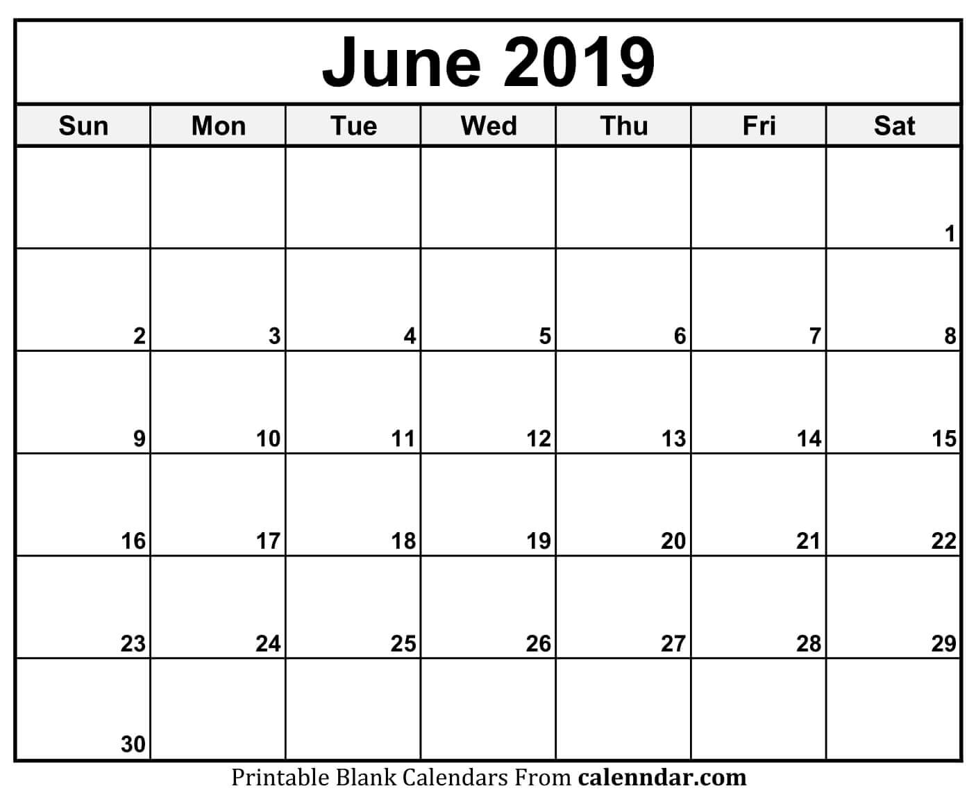 Free Printable Calendar Of June 2019 Blank Templates Word