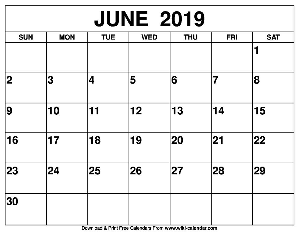 Calendar for June 2019