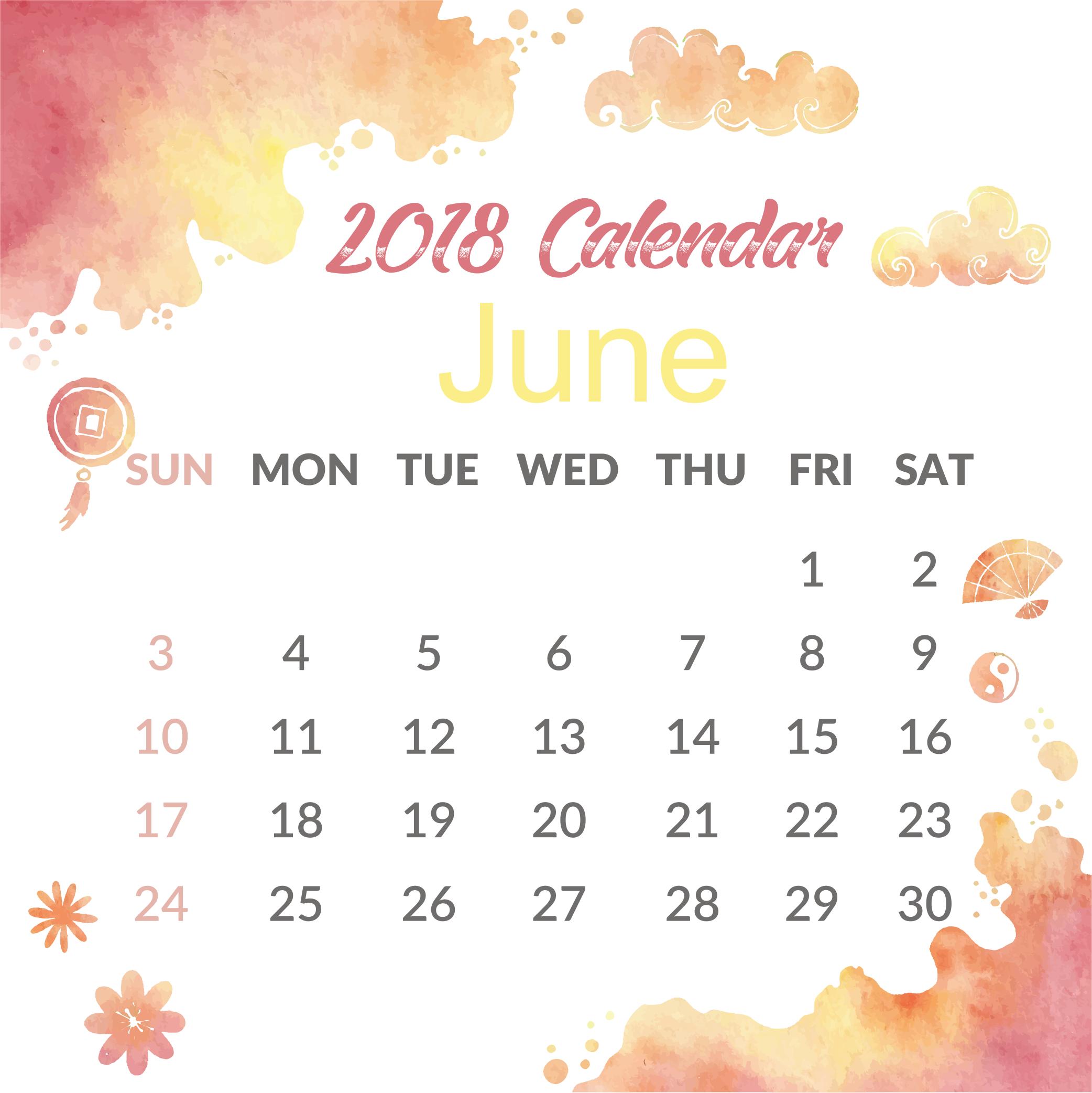 Decorative June 2018 Calendar