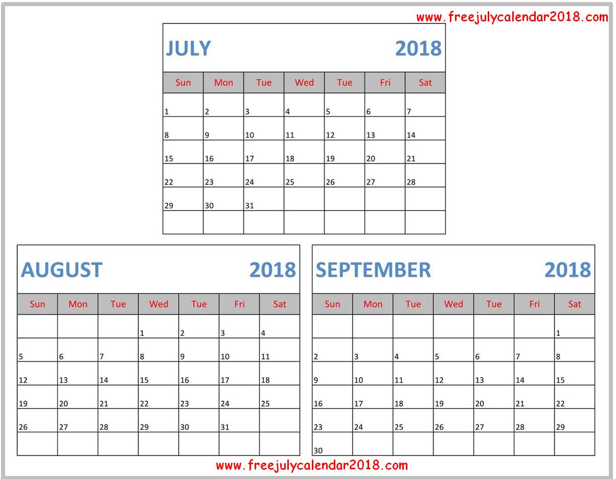 Free July August September 2018 Calendar