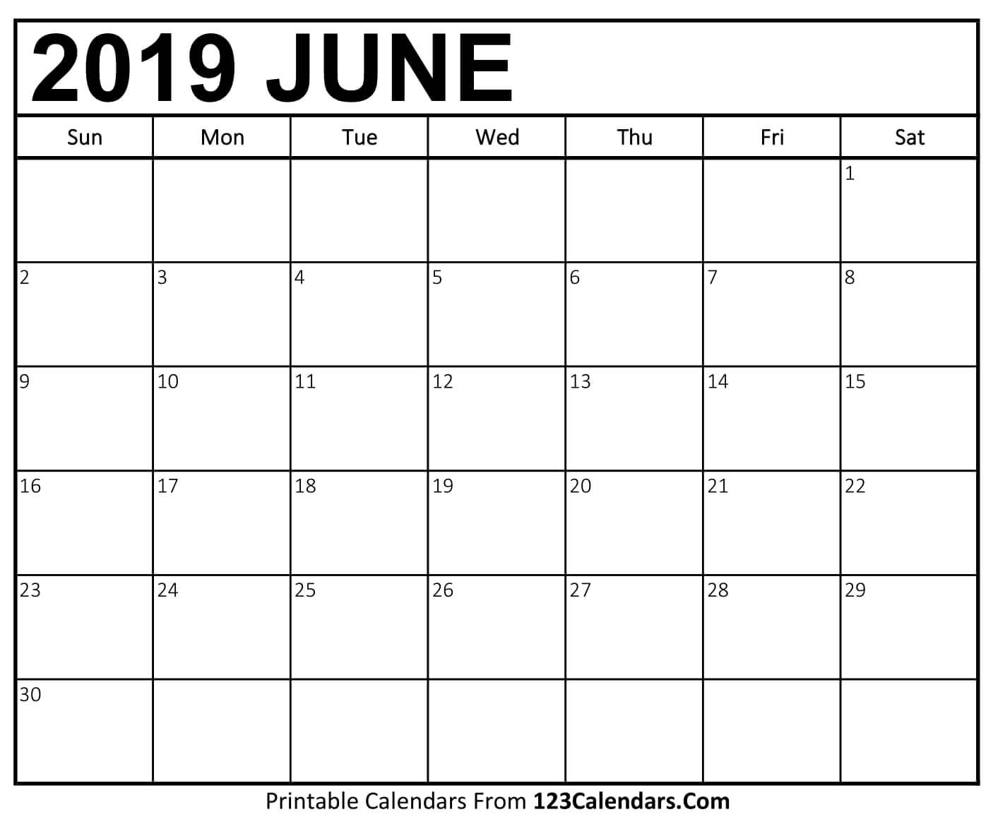 Free June Calendar 2019 Page
