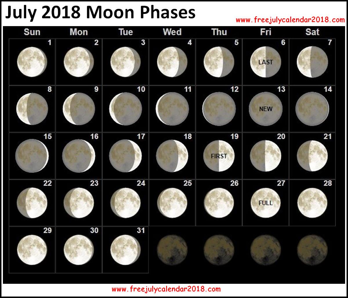 Lunar calendar for July 2018 58