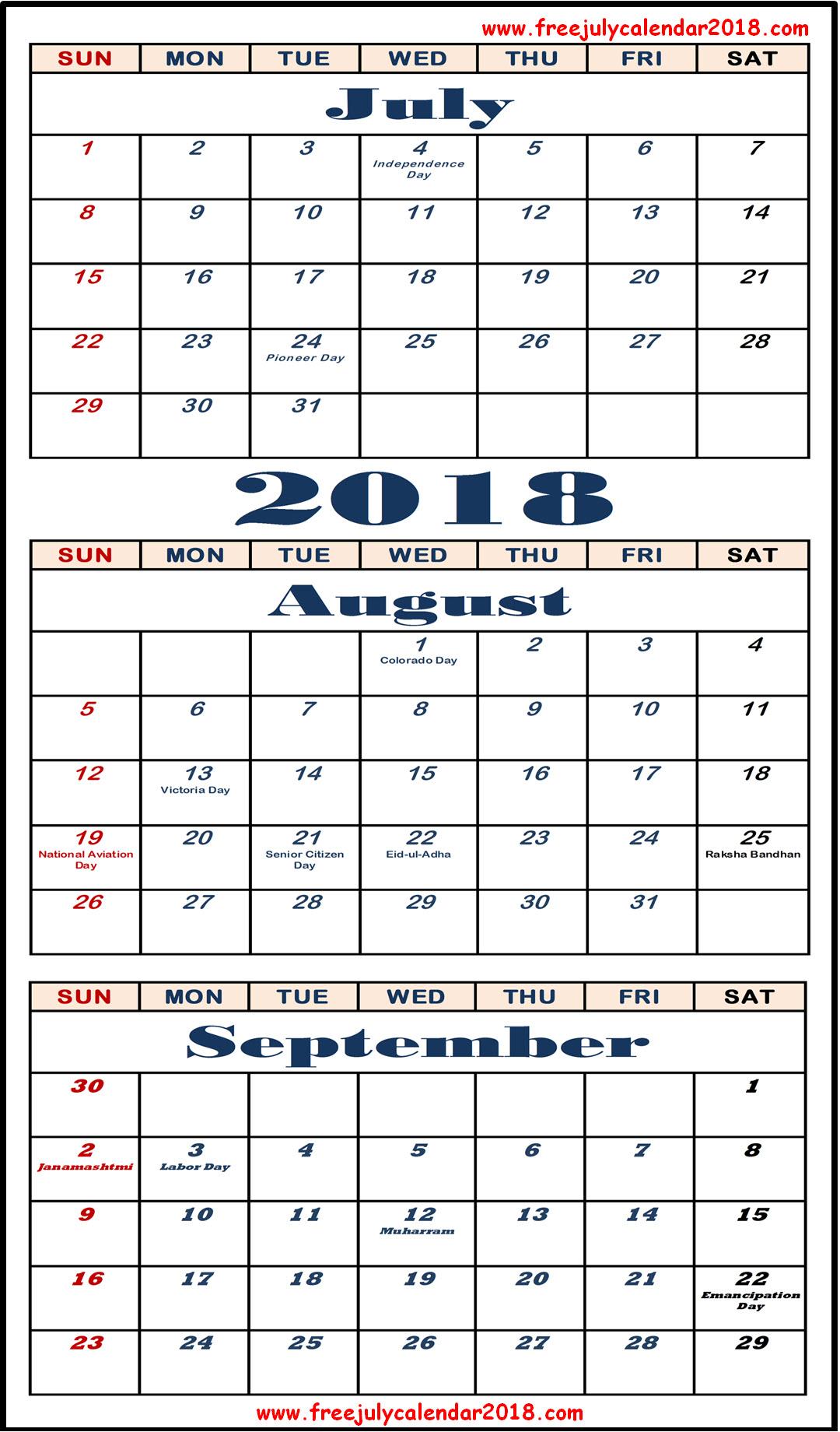 July August September 2018 Calendar Printable