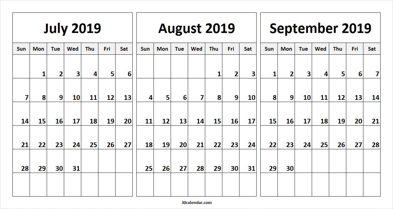 June July August 2019 Calendar Printable.July August September 2019 Calendar July Month Calendar 2019 Printable
