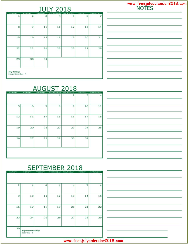 July August September Calendar 2018