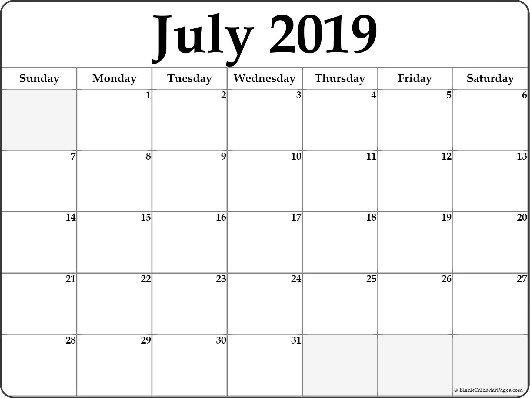 July August September 2019 Calendar July Month Calendar 2019 Printable