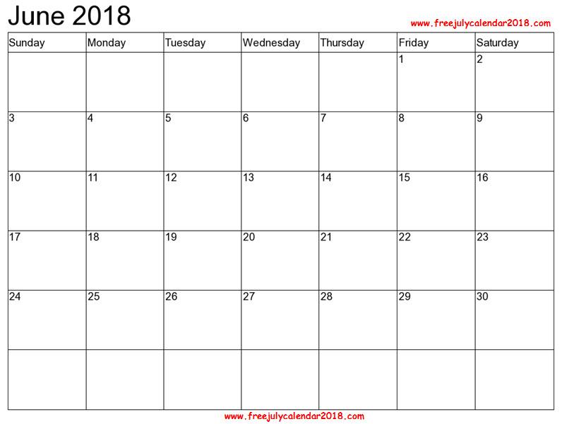 June 2018 Calendar Excel