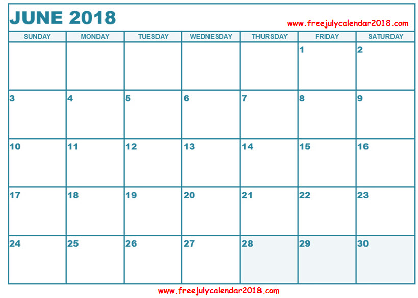 June 2018 Calendar in Page