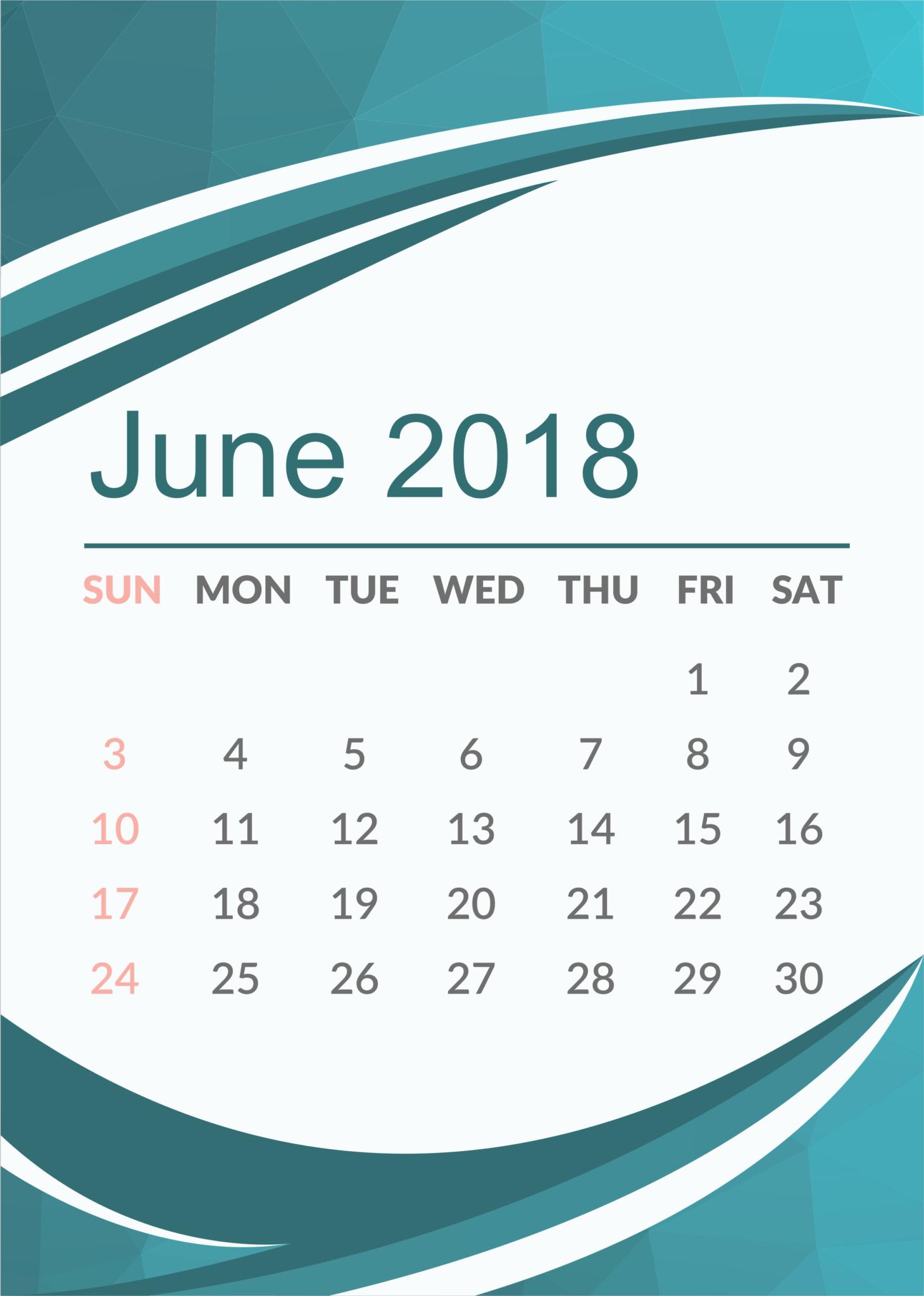June 2018 Calendar Wallpaper