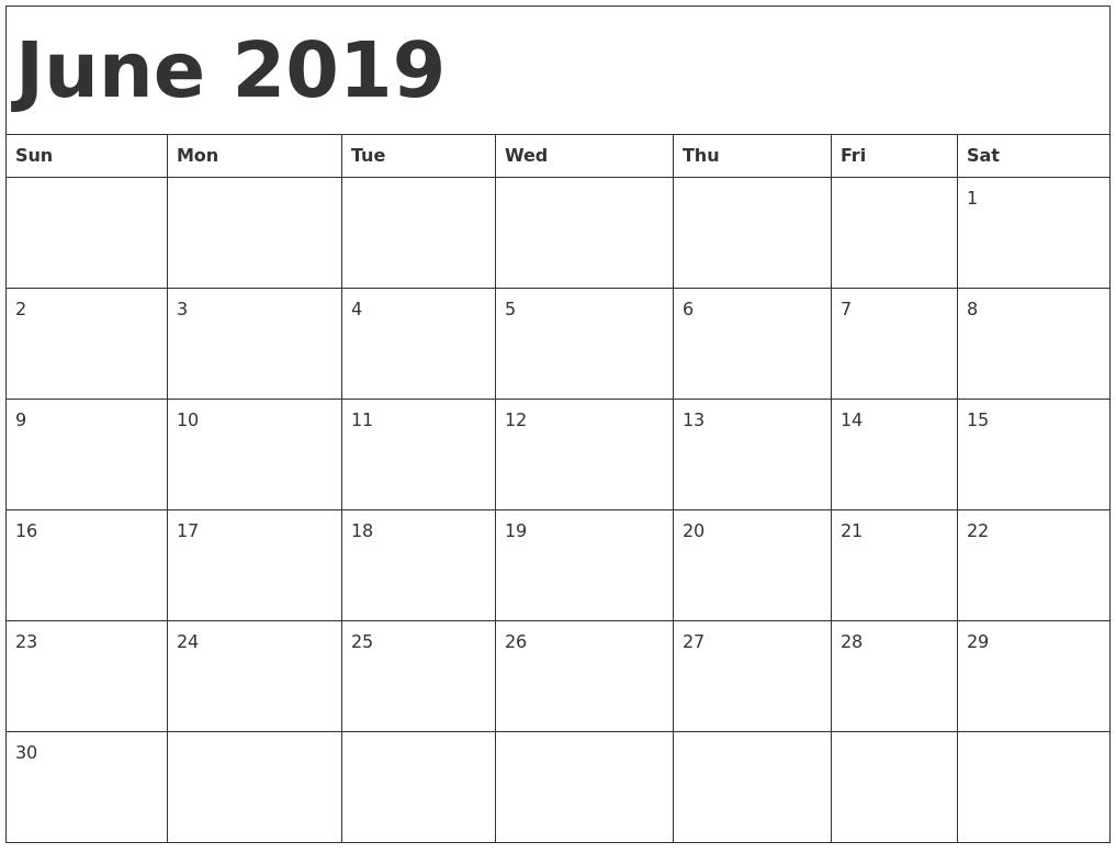 June 2019 Calendar Excel Template