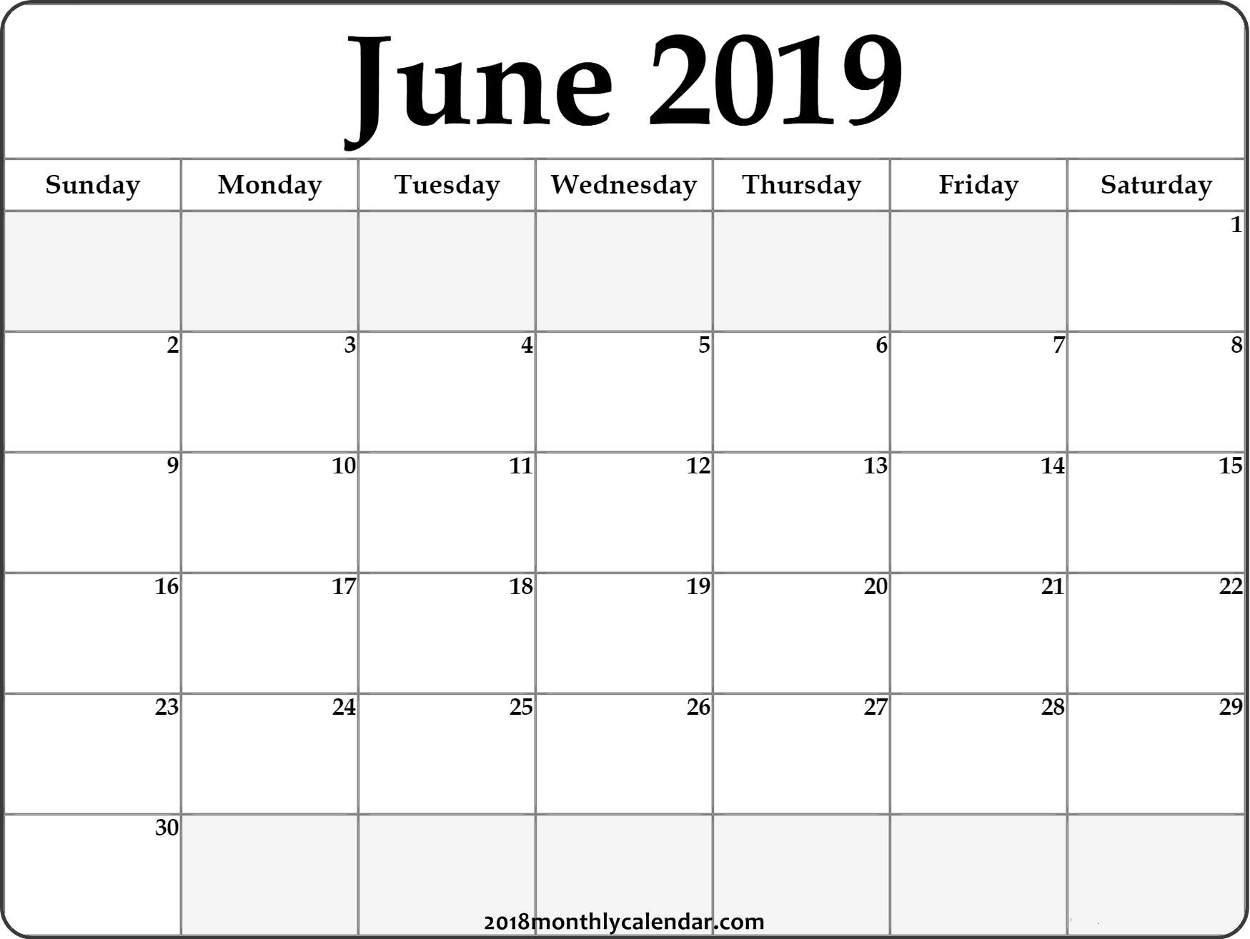 June 2019 Calendar Excel