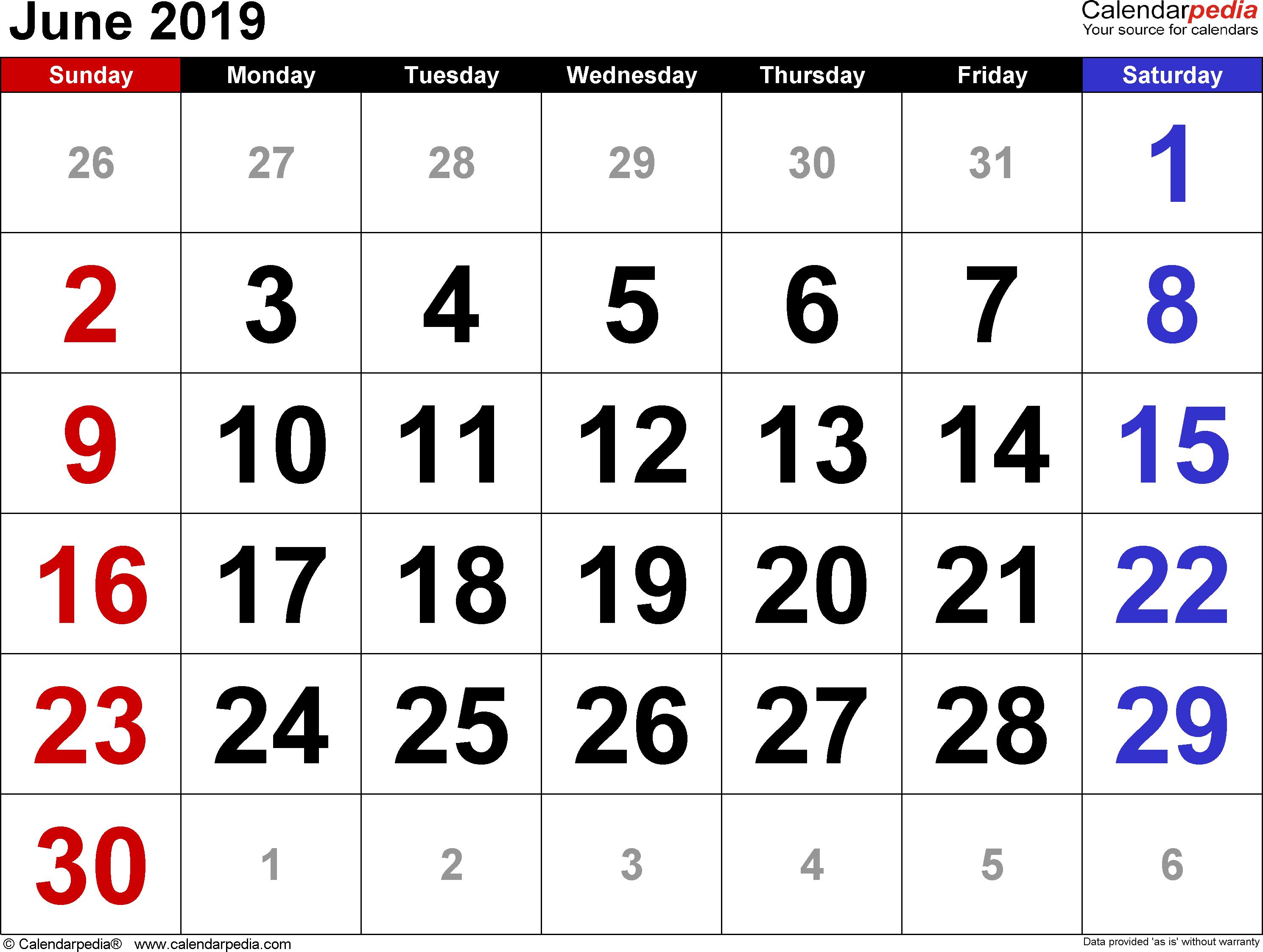 June 2019 Calendar for Word