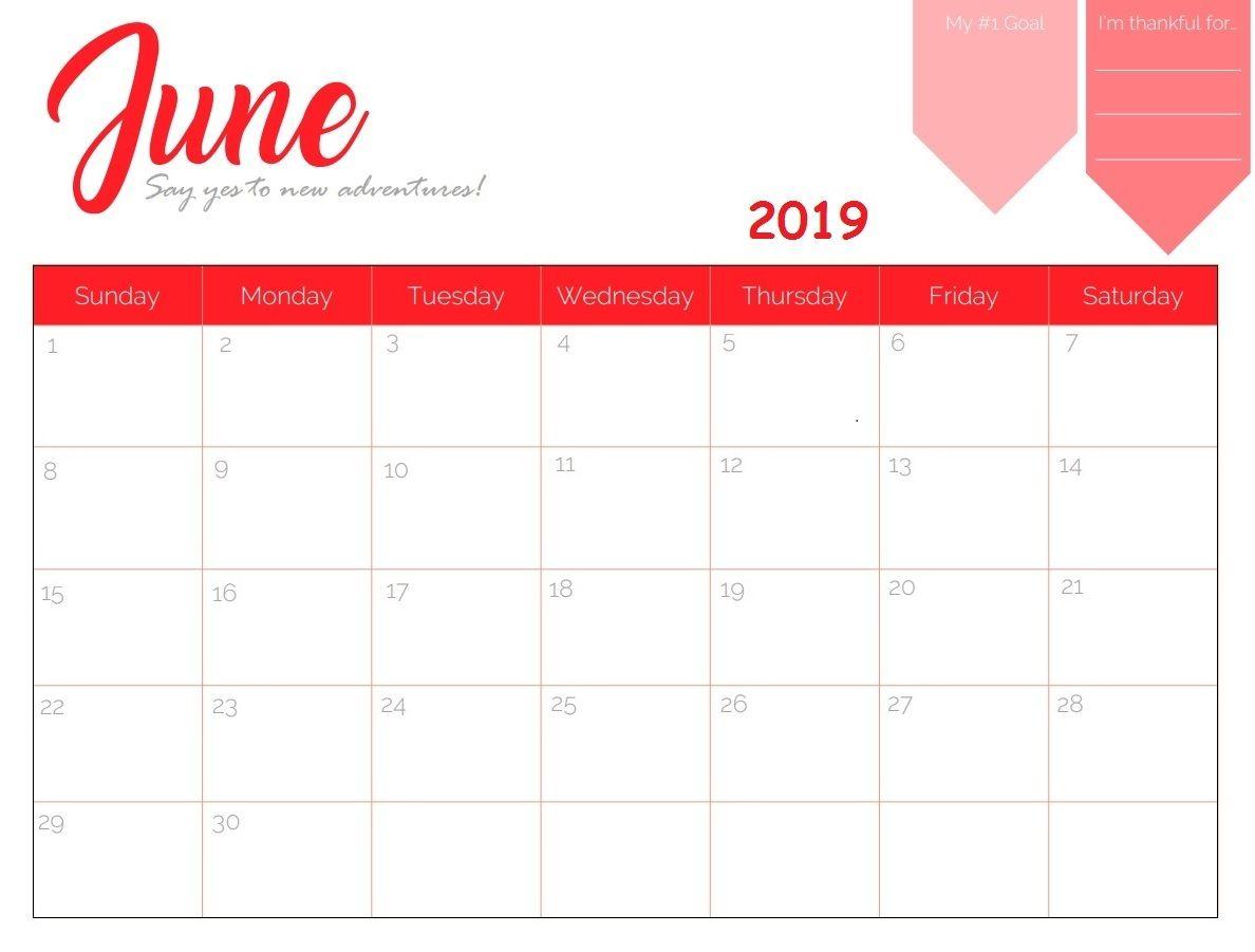 June 2019 Calendar in Page