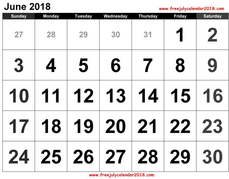 June Calendar 2018 PDF