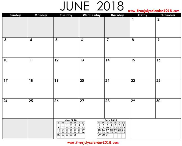 June Calendar 2018 Page