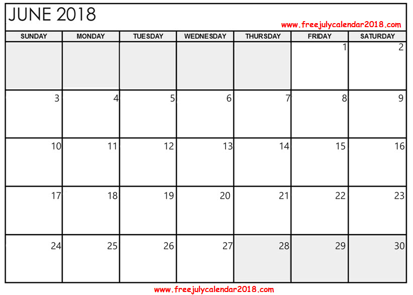 June Calendar 2018 Template