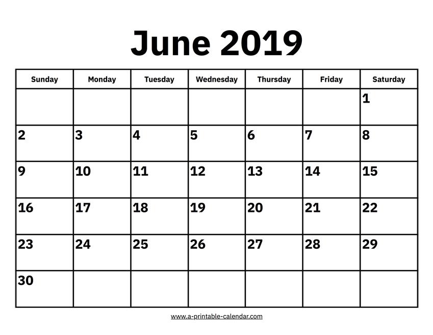 June Calendar 2019 Page
