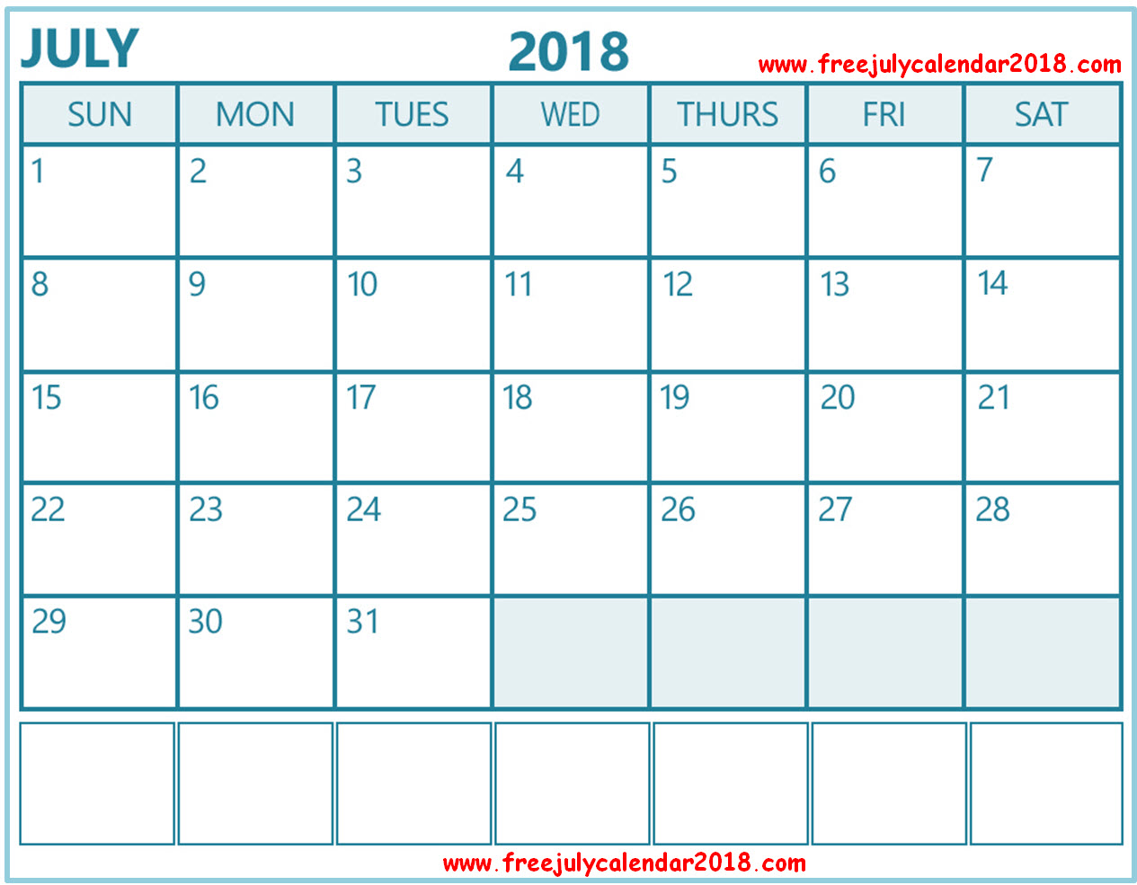 Monthly Daily July Calendar 2018