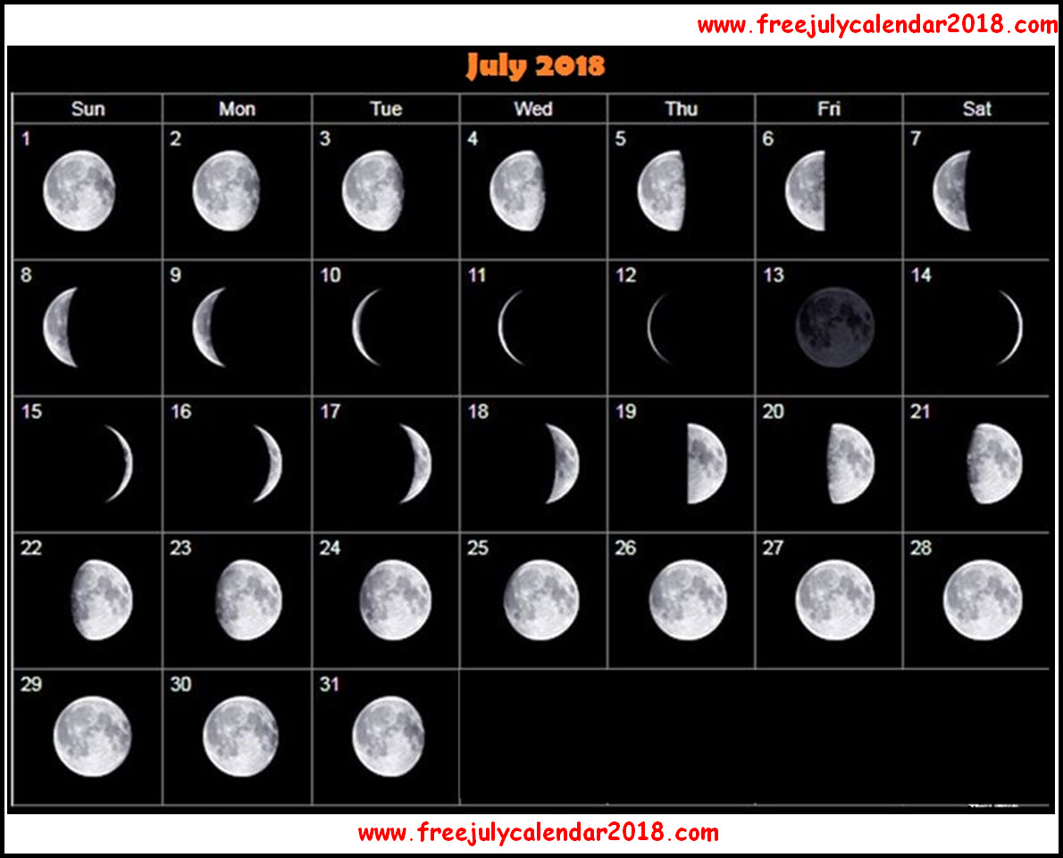 Moon Phases For July 2018