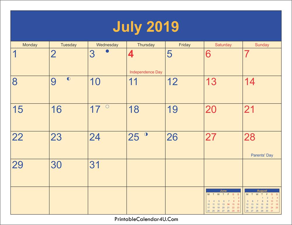 New Moon Phases For July 2019 Calendar, Full Moon Calendar