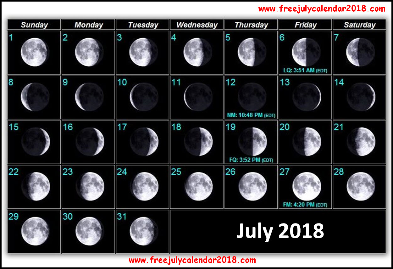 New Moon July Calendar 2018