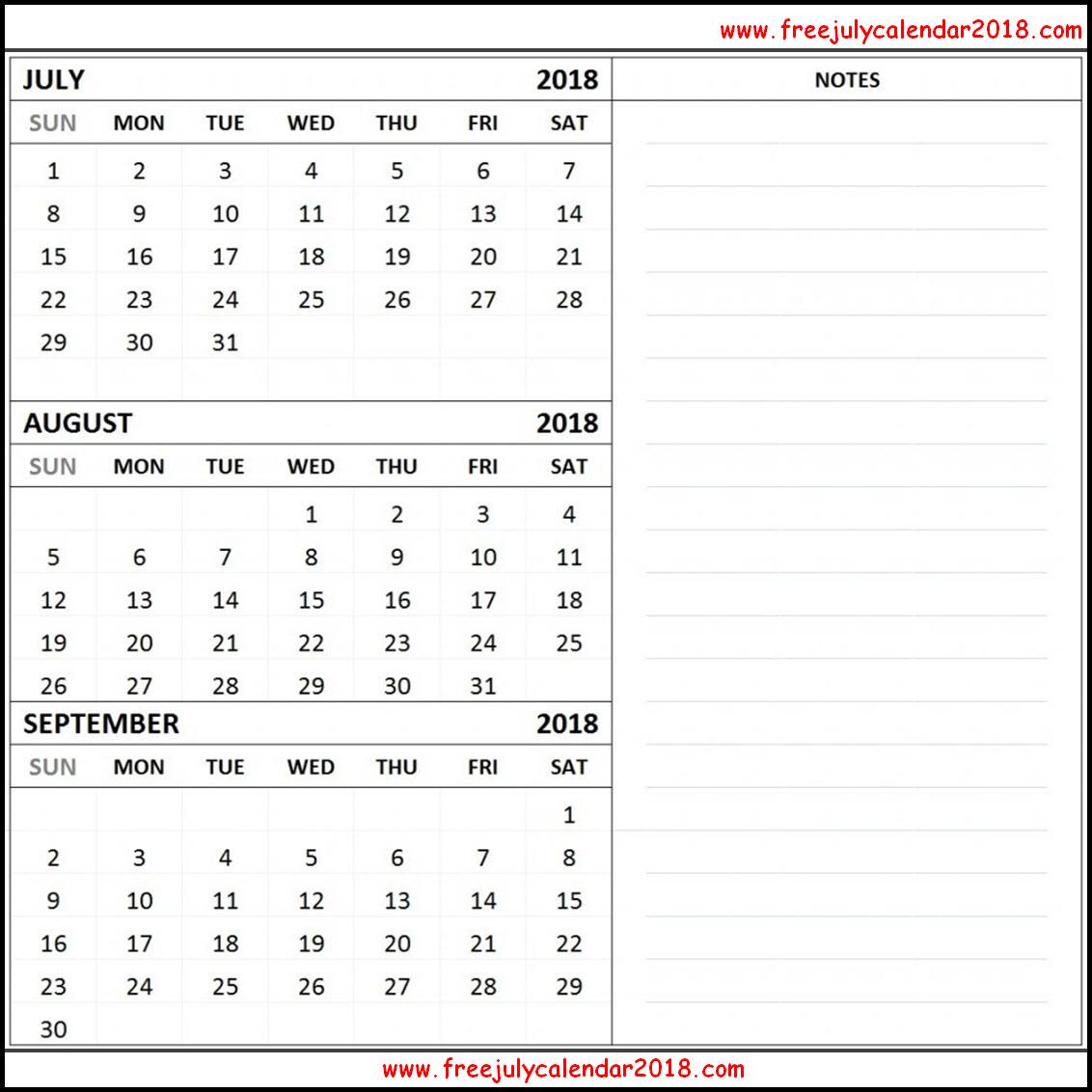 Printable July August September 2018 Calendar