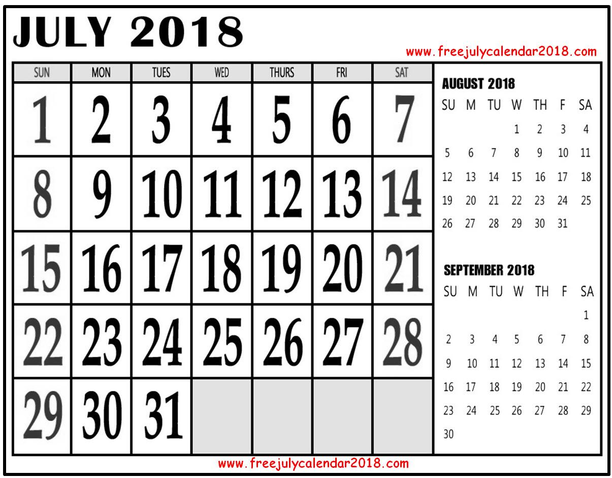 Three Months Calendar July 2018