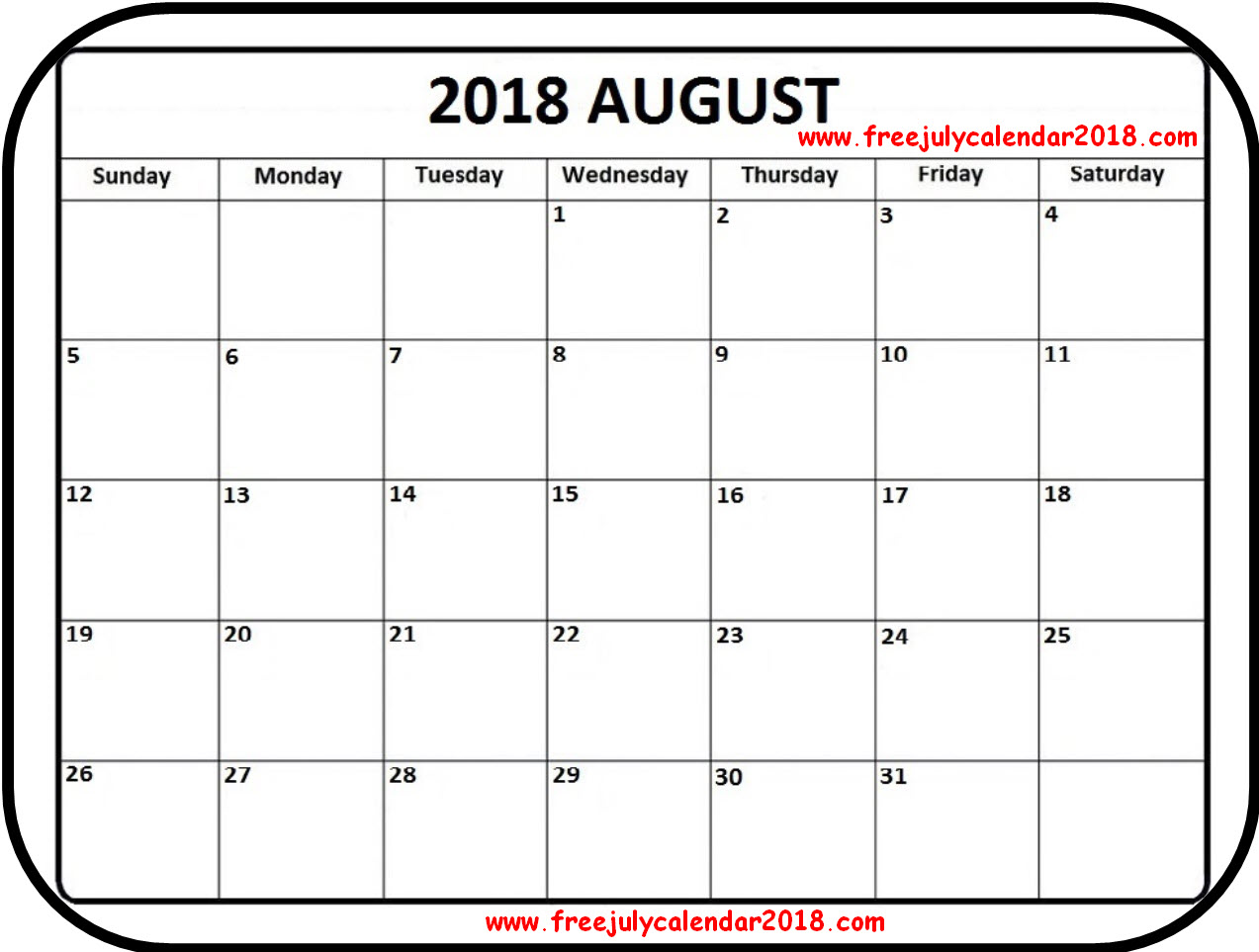 2018 August Calendar PDF