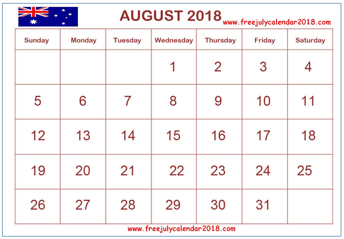 2018 Calendar August Australia