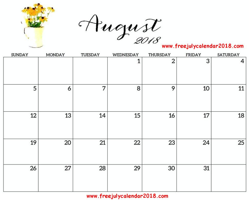 2018 Calendar August Page