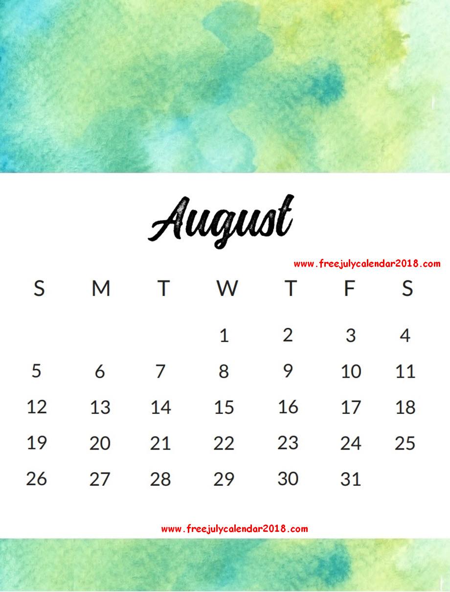 August 2018 Calendar Design