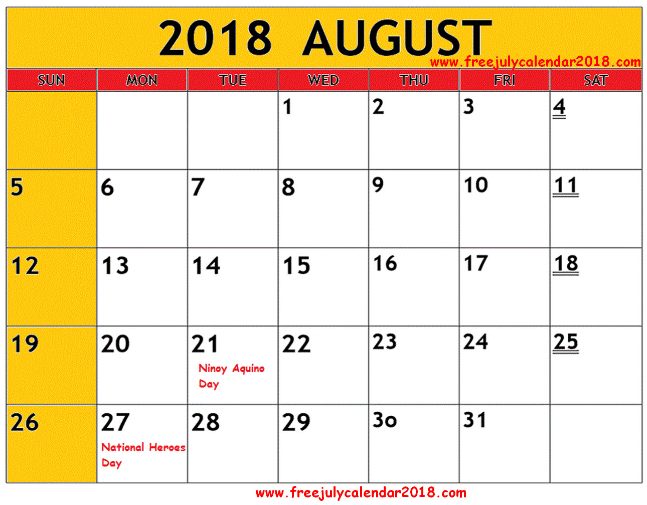 August 2018 Calendar Philippines