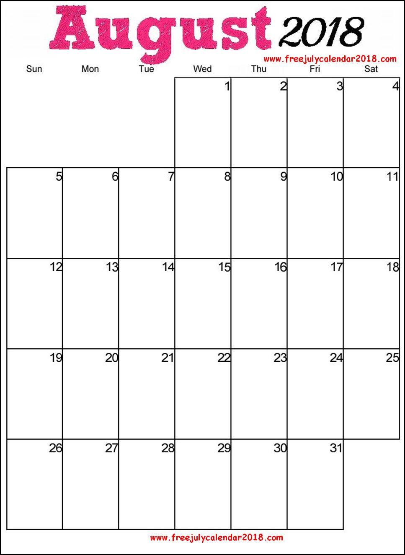 August 2018 Calendar Portrait Page
