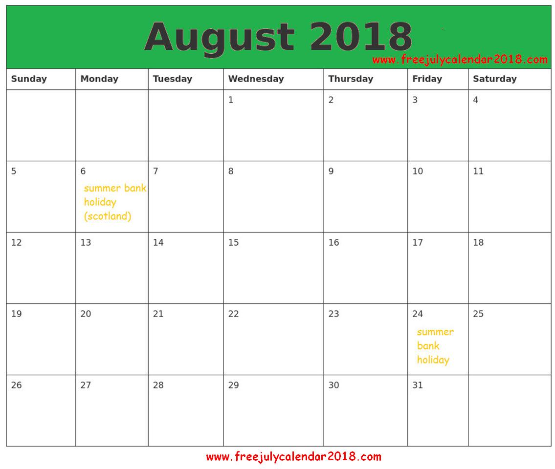August 2018 Calendar Singapore
