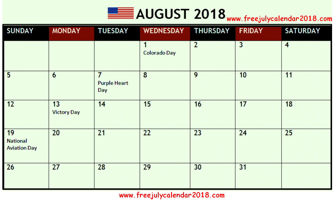 August 2018 Calendar With Holidays Printable Usa Uk Canada India Nz