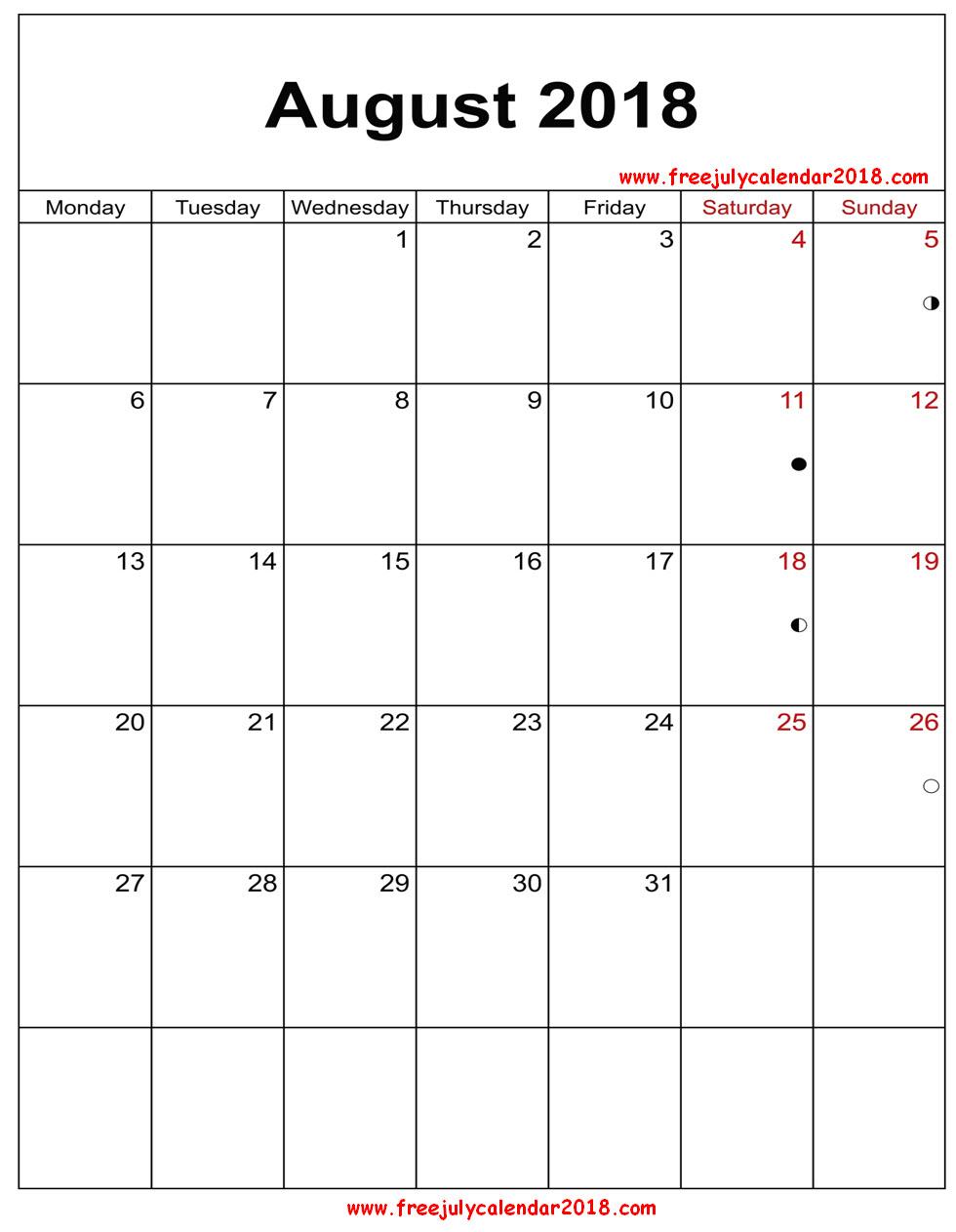 August 2018 Calendar Vertical