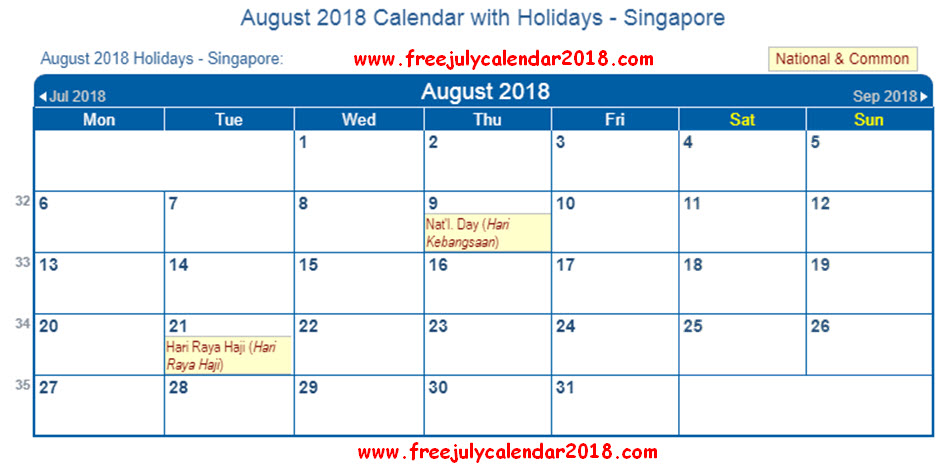 August 2018 Calendar With Holidays Singapore