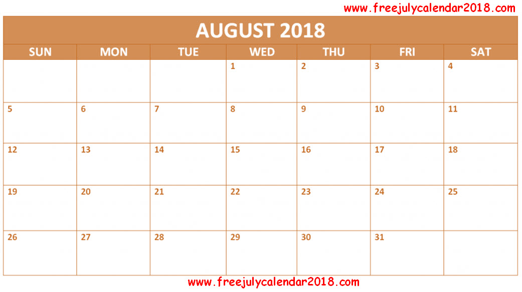 August 2018 Calendar with Holidays Malaysia