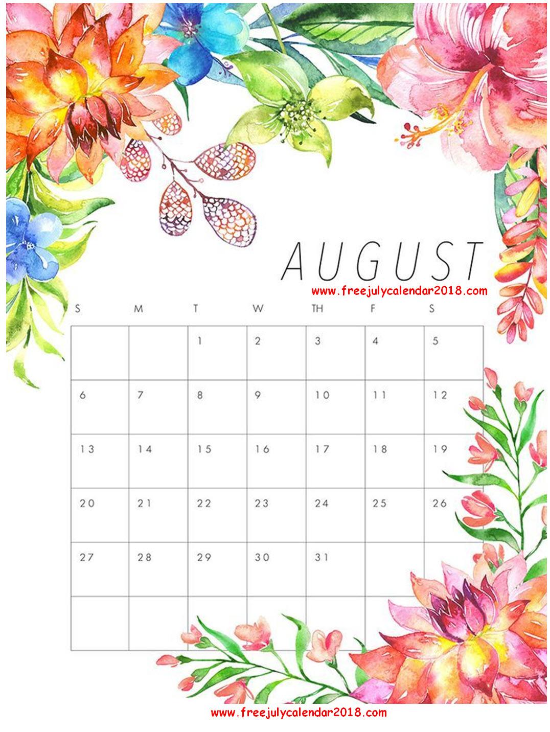 August 2018 Floral Calendar