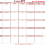 Blank August 2018 Calendar Printable Free Download