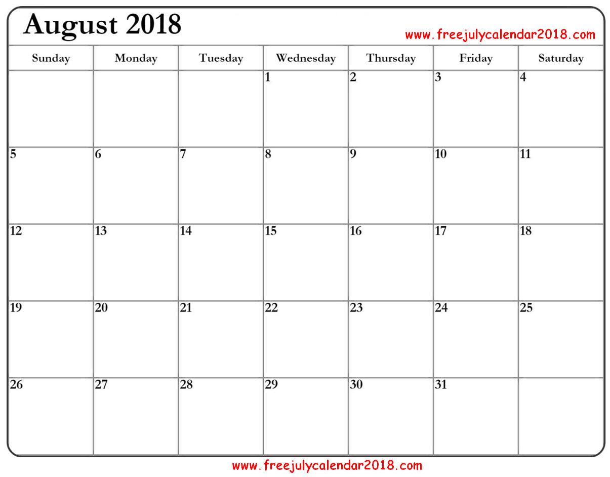 August Calendar 2018 PDF
