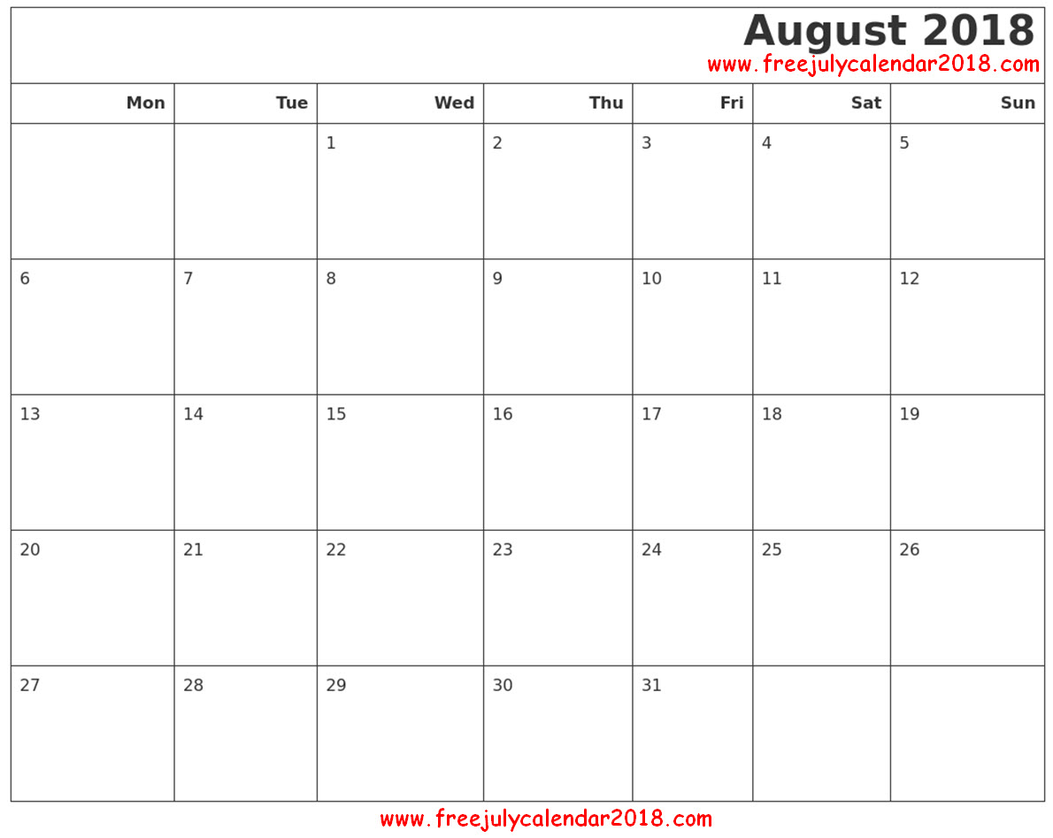 August Calendar 2018 Word