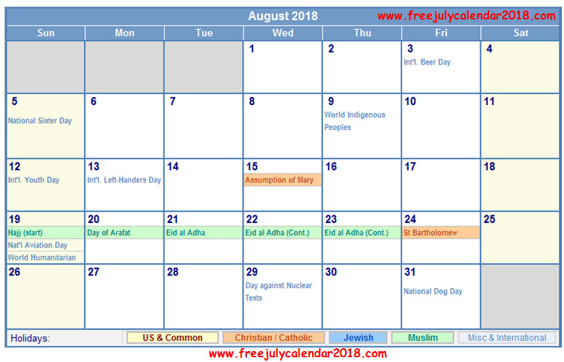 August Calendar 2018 with Holidays India