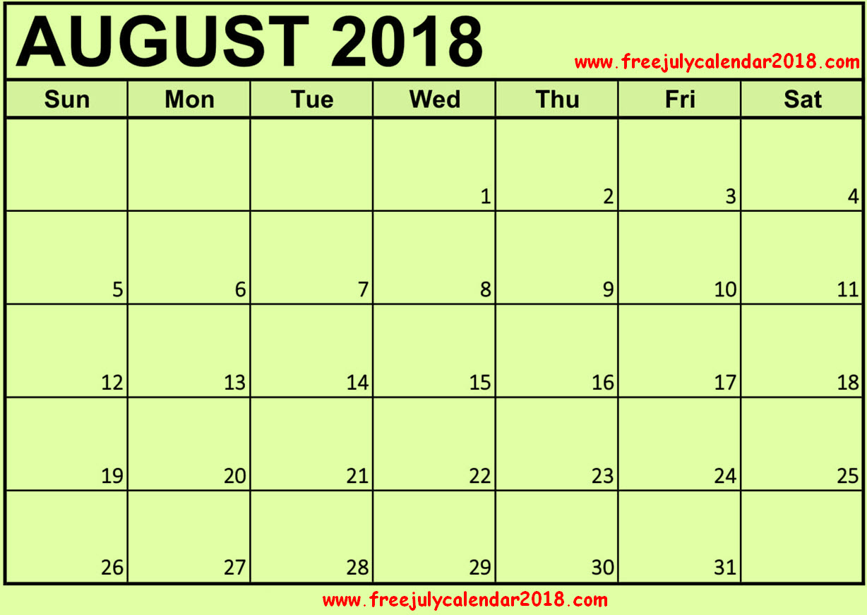 Blank Calendar for August 2018 in Excel