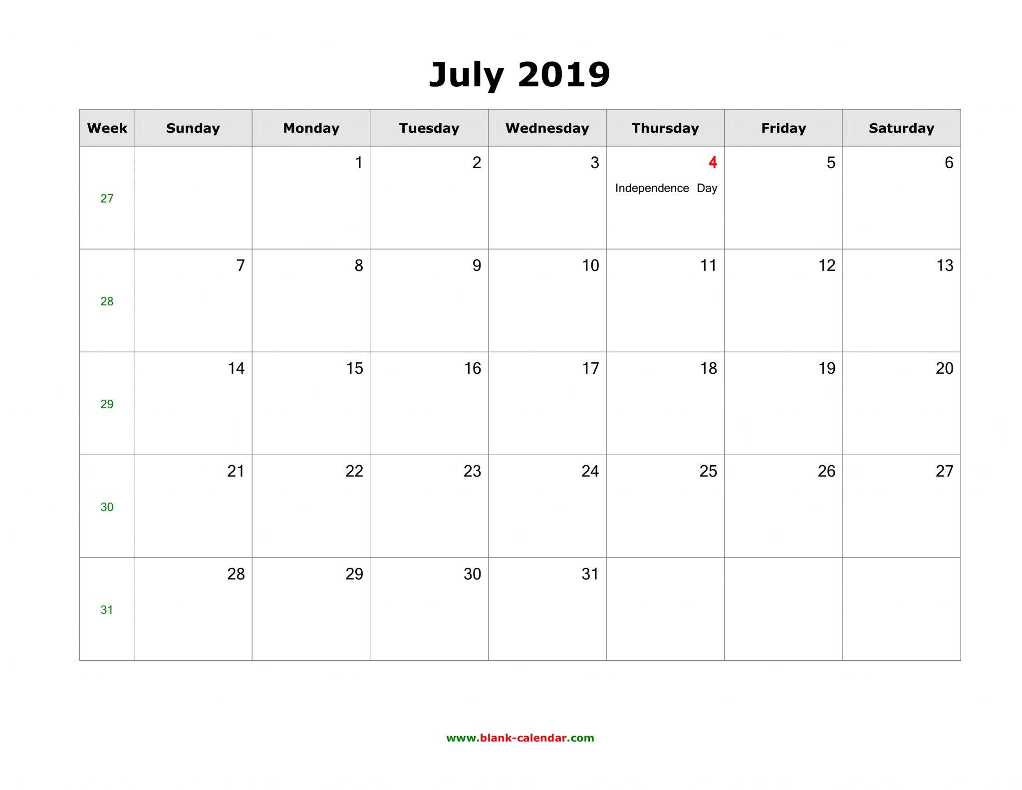 Calendar 2019 July Notes