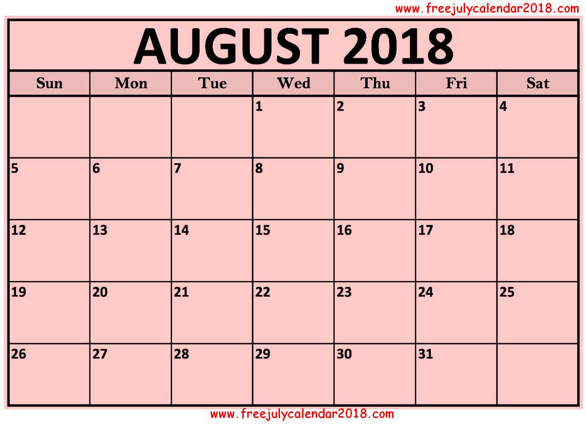 Calendar August 2018