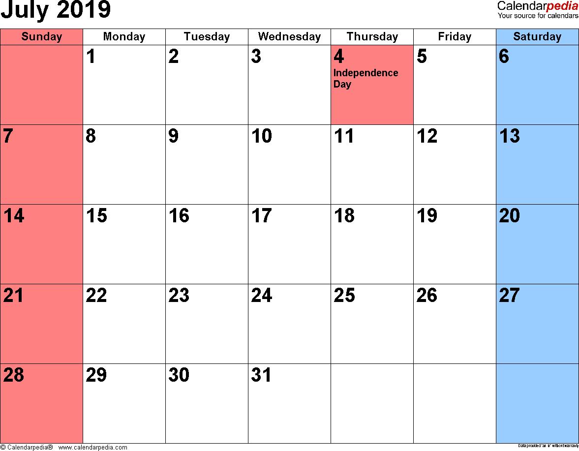 Calendar July 2019 Landscape