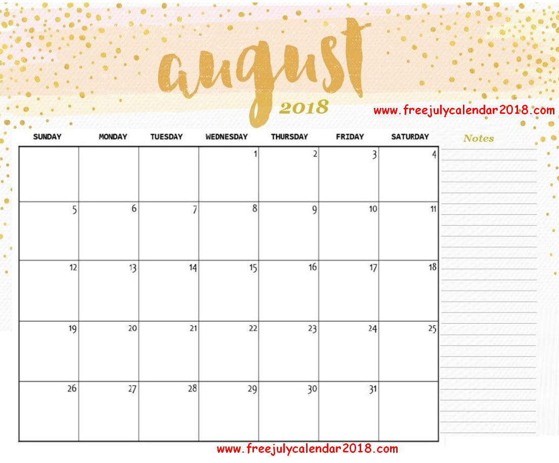 August 2018 Calendar Wallpaper Design
